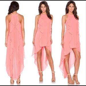 🌹 BCBGMaxAzria Kelsia Cascade Ruffle Halter Dress